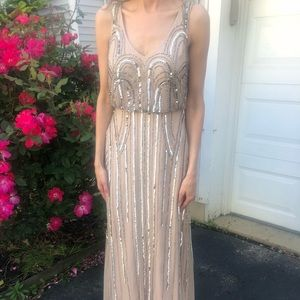 Adrianna Papell nude gown w/ silver sequin detail